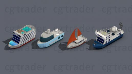 Low poly Ships pack 01 Isometric