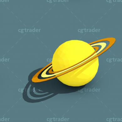 Low Poly Solar System Planets Isometric