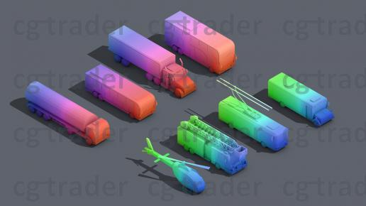 Low Poly Truck Pack 03
