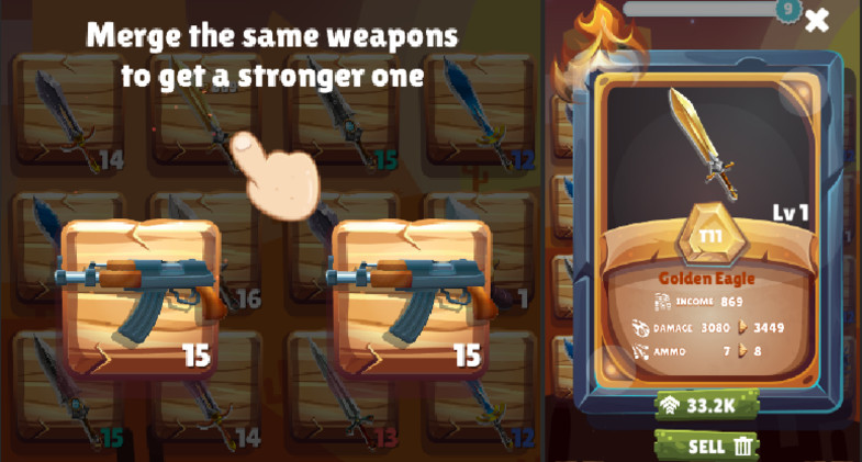 Merge & Hit Weapons Game Template