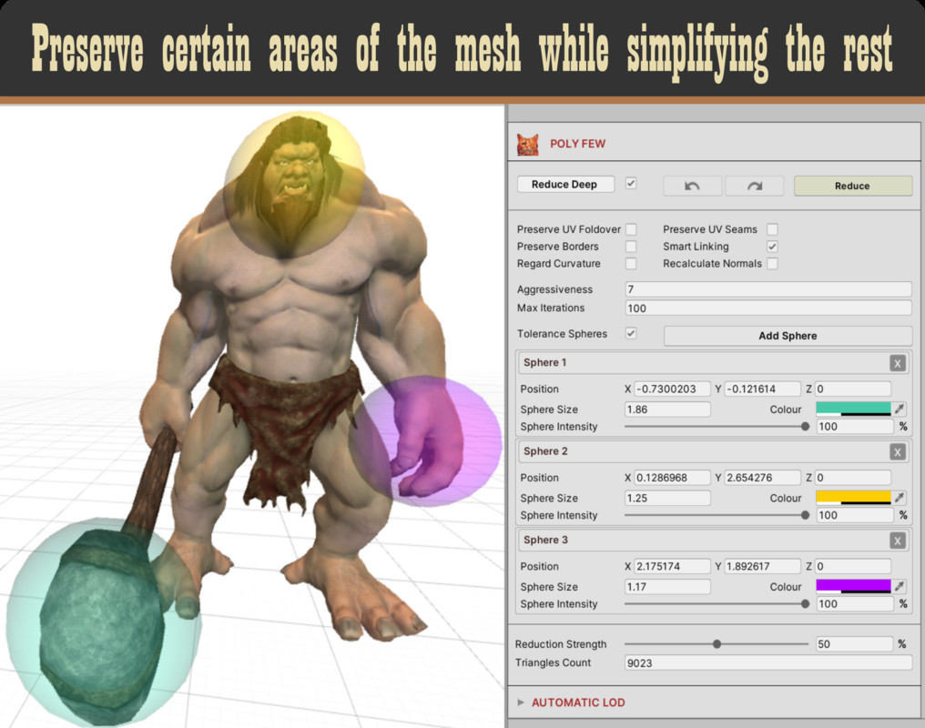 Poly Few | Mesh Simplifier and Auto LOD Generator