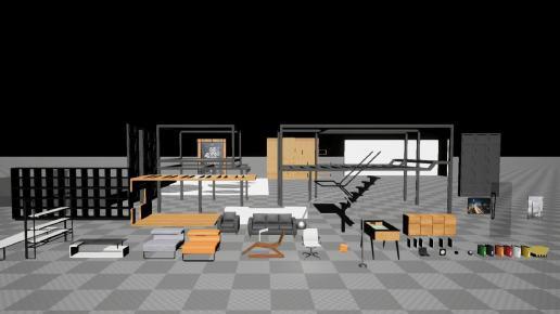 UE4 Office Low-poly 3D model